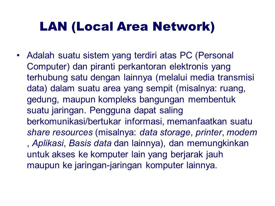 LAN (Local Area Network) Adalah suatu sistem yang terdiri atas PC (Personal Computer) dan piranti perkantoran elektronis yang terhubung satu dengan la