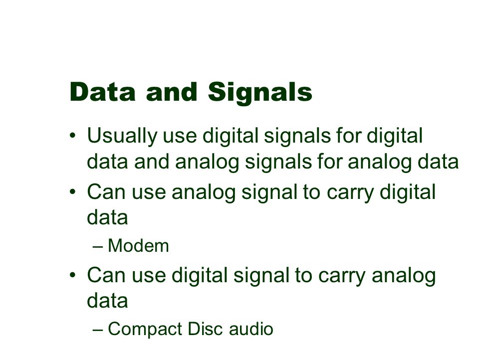 Data and Signals Usually use digital signals for digital data and analog signals for analog data Can use analog signal to carry digital data –Modem Ca