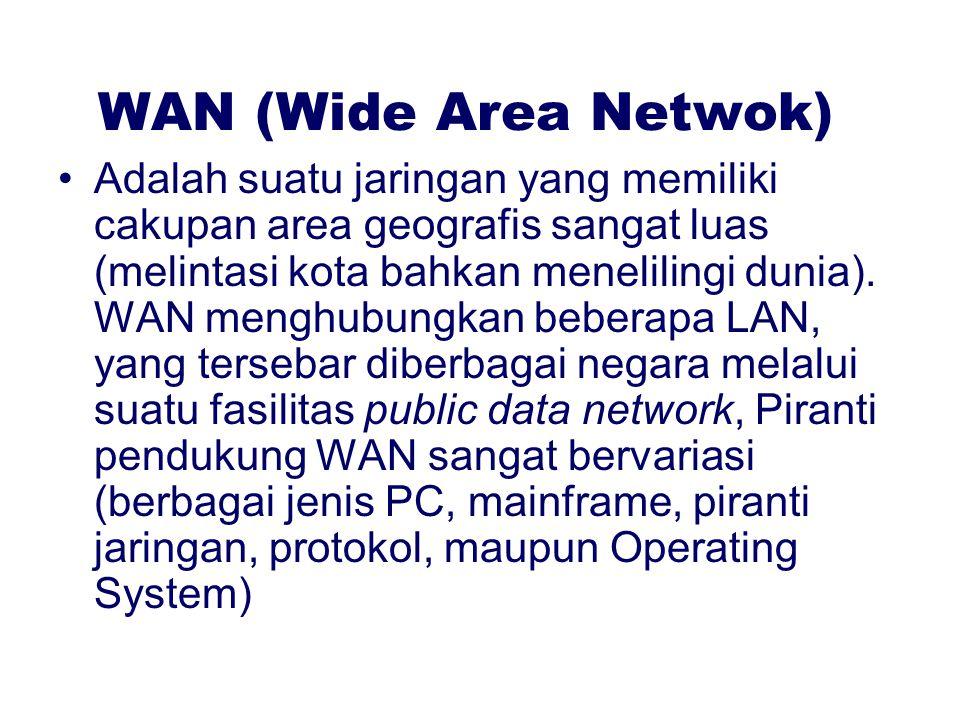 WAN (Wide Area Netwok) Adalah suatu jaringan yang memiliki cakupan area geografis sangat luas (melintasi kota bahkan menelilingi dunia). WAN menghubun
