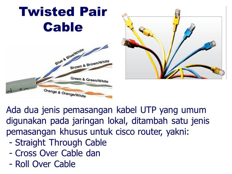 Twisted Pair Cable Ada dua jenis pemasangan kabel UTP yang umum digunakan pada jaringan lokal, ditambah satu jenis pemasangan khusus untuk cisco route
