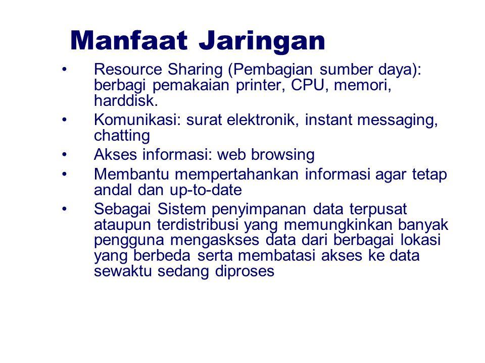 Manfaat Jaringan Resource Sharing (Pembagian sumber daya): berbagi pemakaian printer, CPU, memori, harddisk. Komunikasi: surat elektronik, instant mes