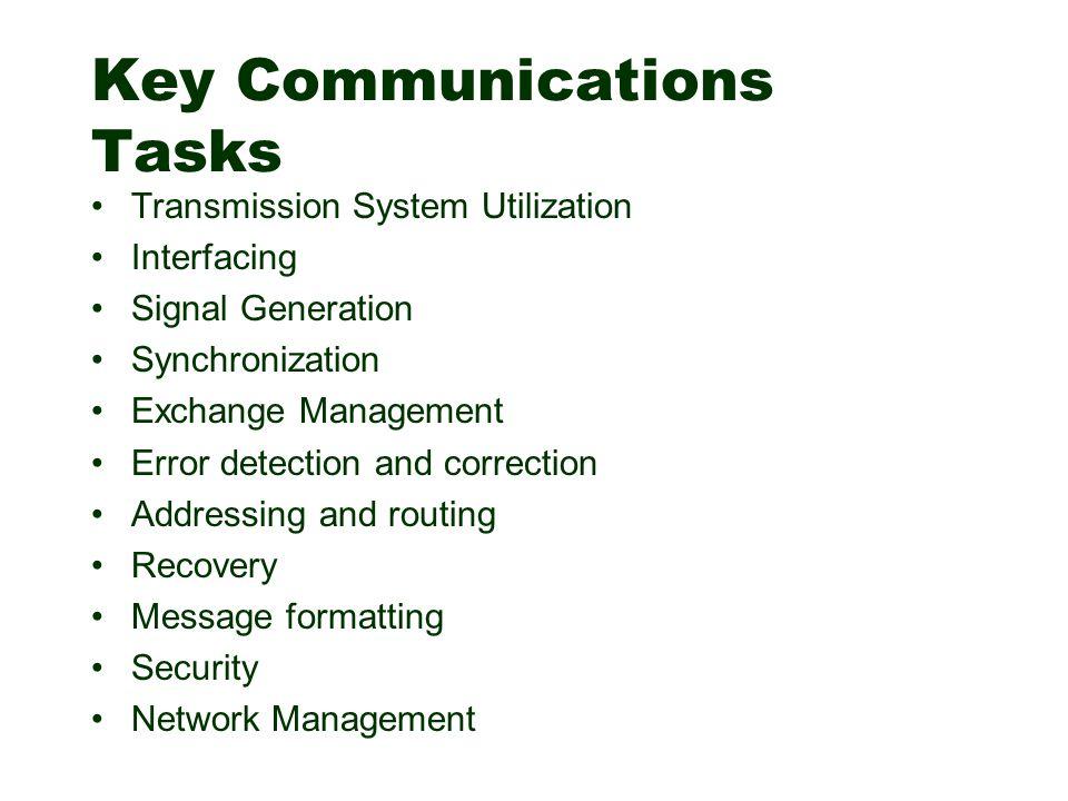 Key Communications Tasks Transmission System Utilization Interfacing Signal Generation Synchronization Exchange Management Error detection and correct