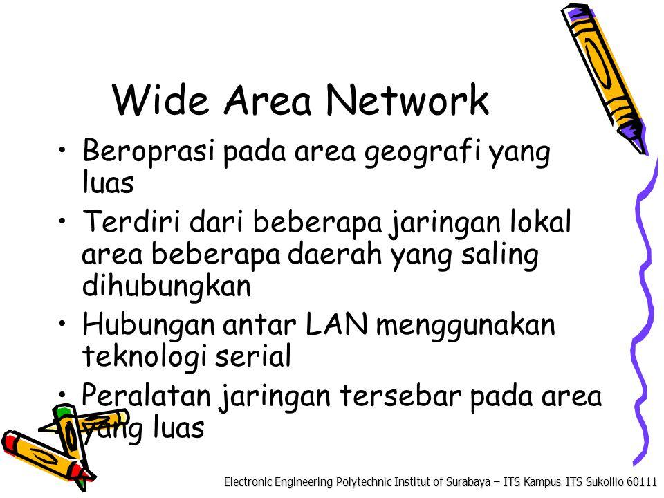 Electronic Engineering Polytechnic Institut of Surabaya – ITS Kampus ITS Sukolilo 60111 Wide Area Network Beroprasi pada area geografi yang luas Terdiri dari beberapa jaringan lokal area beberapa daerah yang saling dihubungkan Hubungan antar LAN menggunakan teknologi serial Peralatan jaringan tersebar pada area yang luas