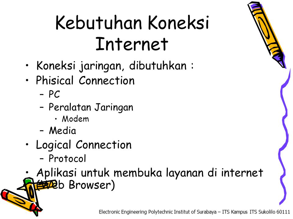 Electronic Engineering Polytechnic Institut of Surabaya – ITS Kampus ITS Sukolilo Kebutuhan Koneksi Internet Koneksi jaringan, dibutuhkan : Phisical Connection –PC –Peralatan Jaringan Modem –Media Logical Connection –Protocol Aplikasi untuk membuka layanan di internet (Web Browser)