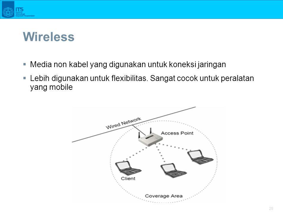 28 Wireless  Media non kabel yang digunakan untuk koneksi jaringan  Lebih digunakan untuk flexibilitas.