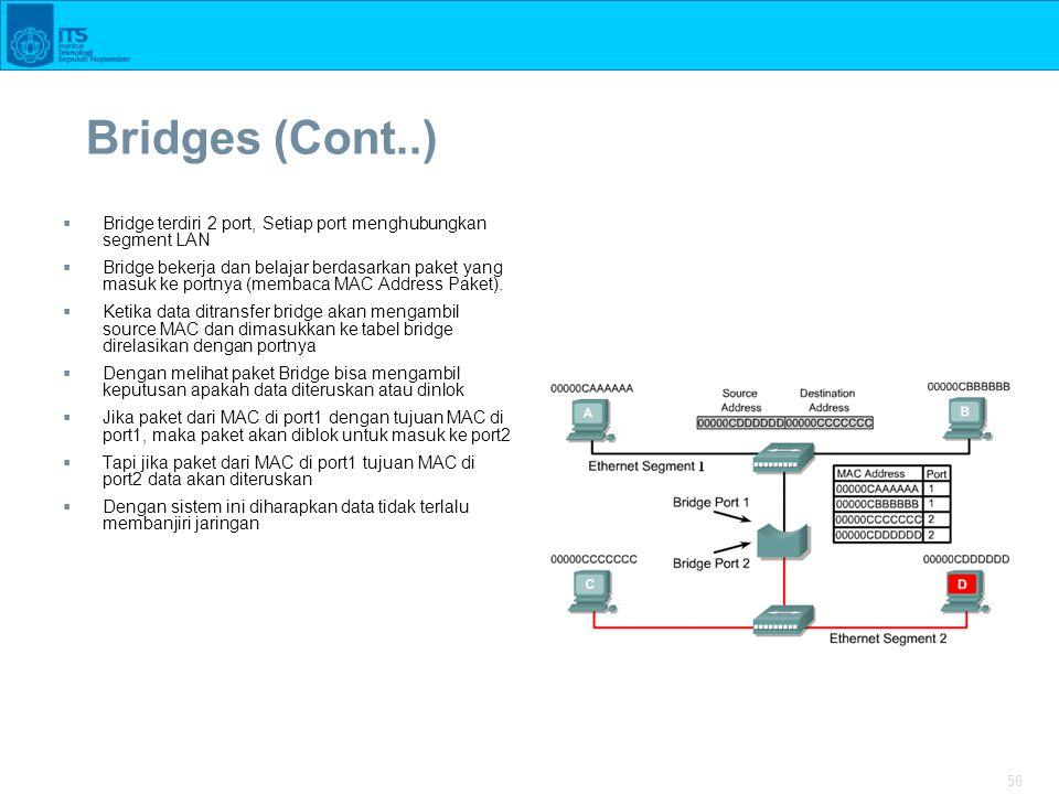 56 Bridges (Cont..)  Bridge terdiri 2 port, Setiap port menghubungkan segment LAN  Bridge bekerja dan belajar berdasarkan paket yang masuk ke portnya (membaca MAC Address Paket).