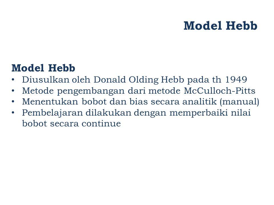 Model Hebb Diusulkan oleh Donald Olding Hebb pada th 1949 Metode pengembangan dari metode McCulloch-Pitts Menentukan bobot dan bias secara analitik (m