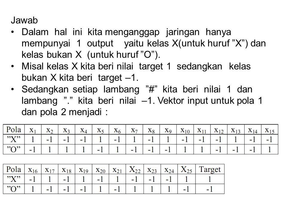 """Jawab Dalam hal ini kita menganggap jaringan hanya mempunyai 1 output yaitu kelas X(untuk huruf """"X"""") dan kelas bukan X (untuk huruf """"O""""). Misal kelas"""