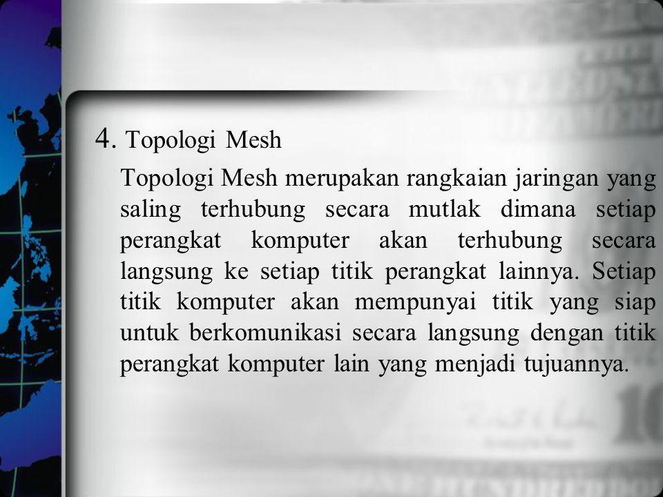 4. Topologi Mesh Topologi Mesh merupakan rangkaian jaringan yang saling terhubung secara mutlak dimana setiap perangkat komputer akan terhubung secara