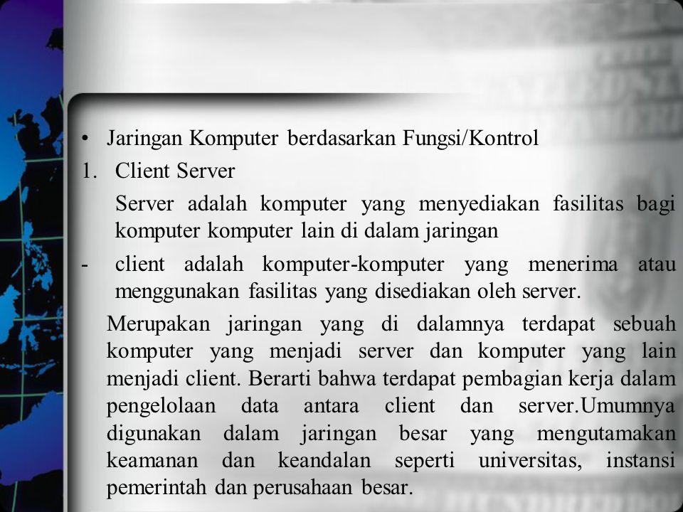 Jaringan Komputer berdasarkan Fungsi/Kontrol 1.Client Server Server adalah komputer yang menyediakan fasilitas bagi komputer komputer lain di dalam ja