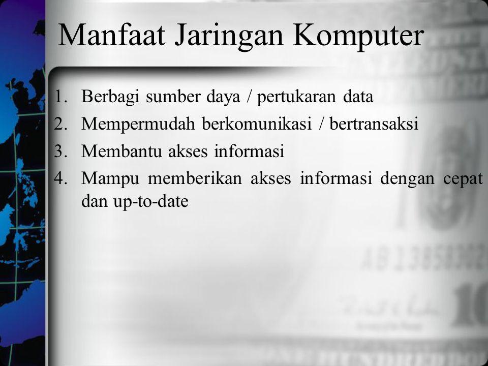Manfaat Jaringan Komputer 1.Berbagi sumber daya / pertukaran data 2.Mempermudah berkomunikasi / bertransaksi 3.Membantu akses informasi 4.Mampu member