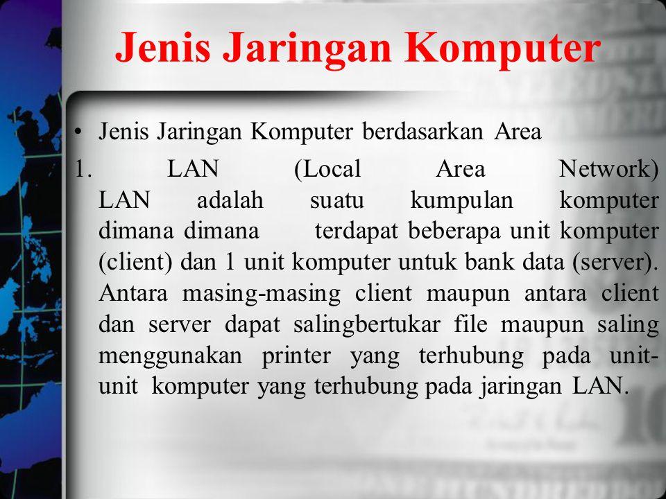 Jenis Jaringan Komputer Jenis Jaringan Komputer berdasarkan Area 1. LAN (Local Area Network) LAN adalah suatu kumpulan komputer dimana dimana terdapat