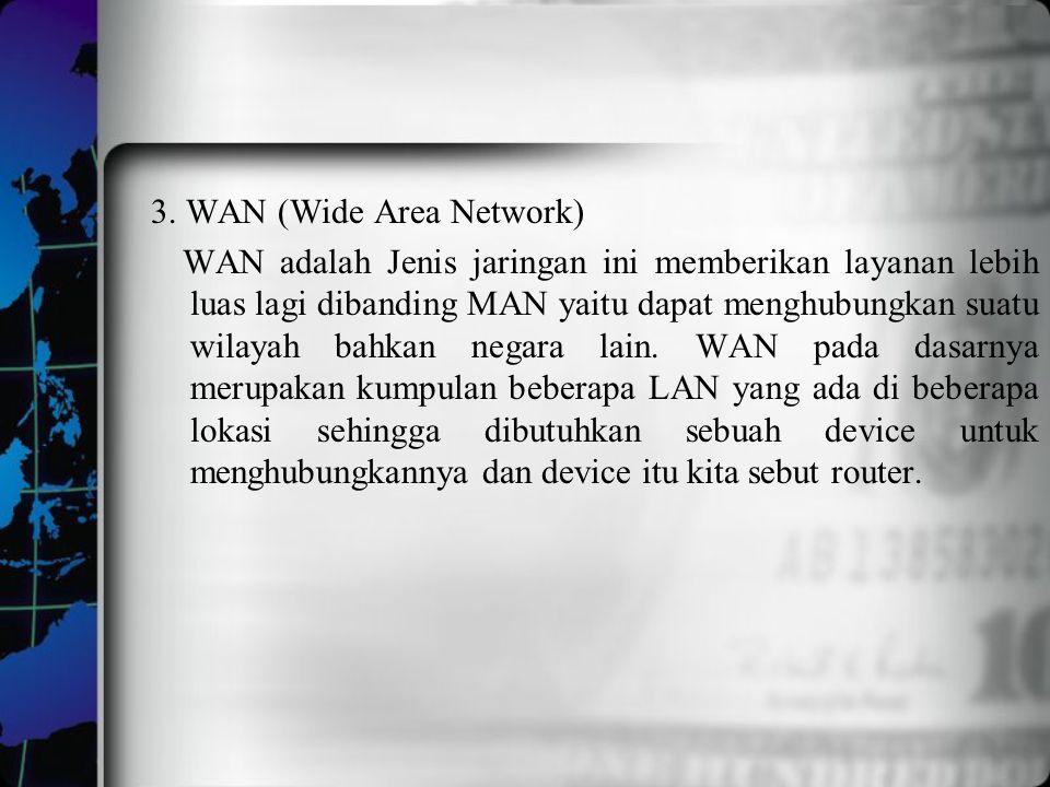 3. WAN (Wide Area Network) WAN adalah Jenis jaringan ini memberikan layanan lebih luas lagi dibanding MAN yaitu dapat menghubungkan suatu wilayah bahk