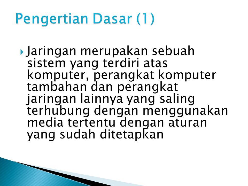  Jaringan merupakan sebuah sistem yang terdiri atas komputer, perangkat komputer tambahan dan perangkat jaringan lainnya yang saling terhubung dengan
