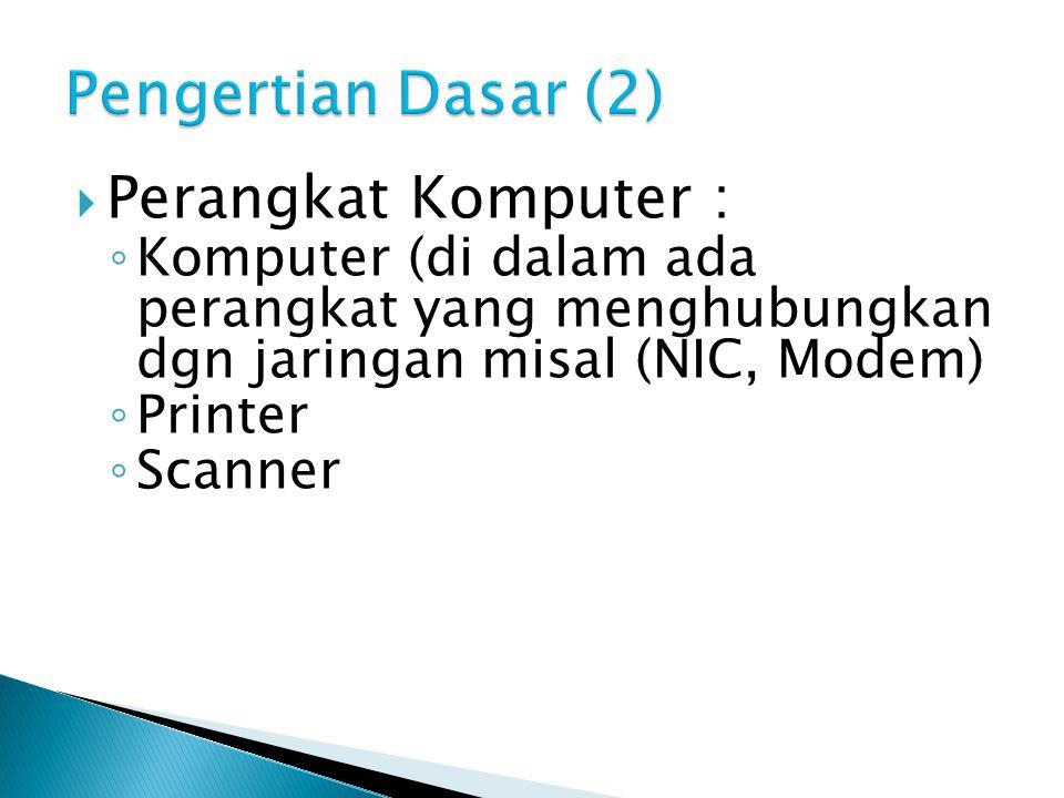  Perangkat Komputer : ◦ Komputer (di dalam ada perangkat yang menghubungkan dgn jaringan misal (NIC, Modem) ◦ Printer ◦ Scanner
