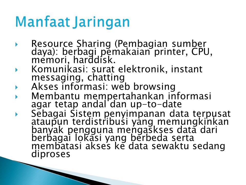  Resource Sharing (Pembagian sumber daya): berbagi pemakaian printer, CPU, memori, harddisk.  Komunikasi: surat elektronik, instant messaging, chatt