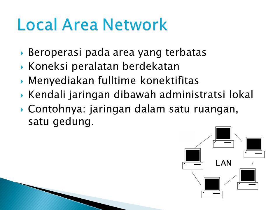 Beroperasi pada area yang terbatas  Koneksi peralatan berdekatan  Menyediakan fulltime konektifitas  Kendali jaringan dibawah administratsi lokal