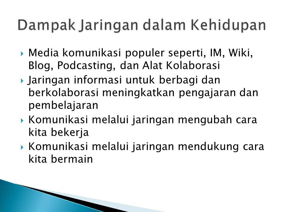  Media komunikasi populer seperti, IM, Wiki, Blog, Podcasting, dan Alat Kolaborasi  Jaringan informasi untuk berbagi dan berkolaborasi meningkatkan