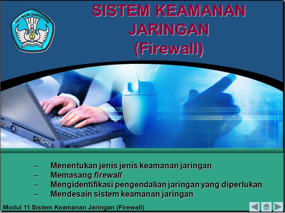 SISTEM KEAMANAN JARINGAN (Firewall) –Menentukan jenis jenis keamanan jaringan –Memasang firewall –Mengidentifikasi pengendalian jaringan yang diperluk