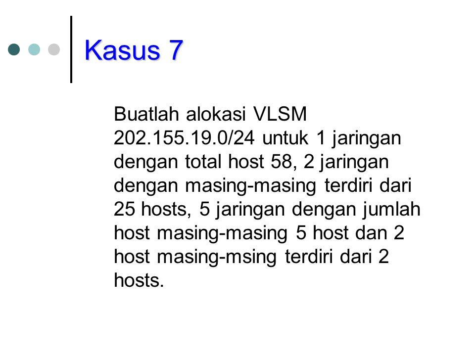 Kasus 7 Buatlah alokasi VLSM 202.155.19.0/24 untuk 1 jaringan dengan total host 58, 2 jaringan dengan masing-masing terdiri dari 25 hosts, 5 jaringan