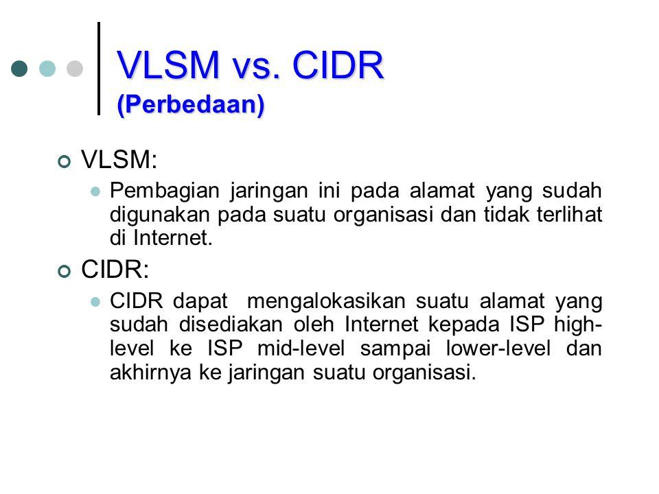 VLSM: Pembagian jaringan ini pada alamat yang sudah digunakan pada suatu organisasi dan tidak terlihat di Internet. CIDR: CIDR dapat mengalokasikan su