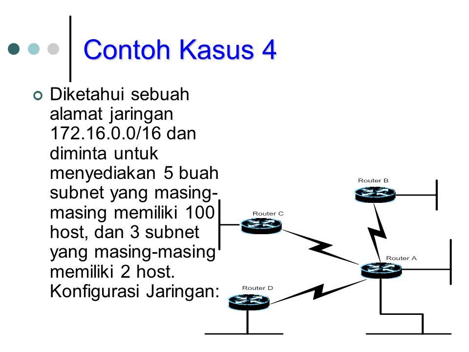 Contoh Kasus 4 Diketahui sebuah alamat jaringan 172.16.0.0/16 dan diminta untuk menyediakan 5 buah subnet yang masing- masing memiliki 100 host, dan 3