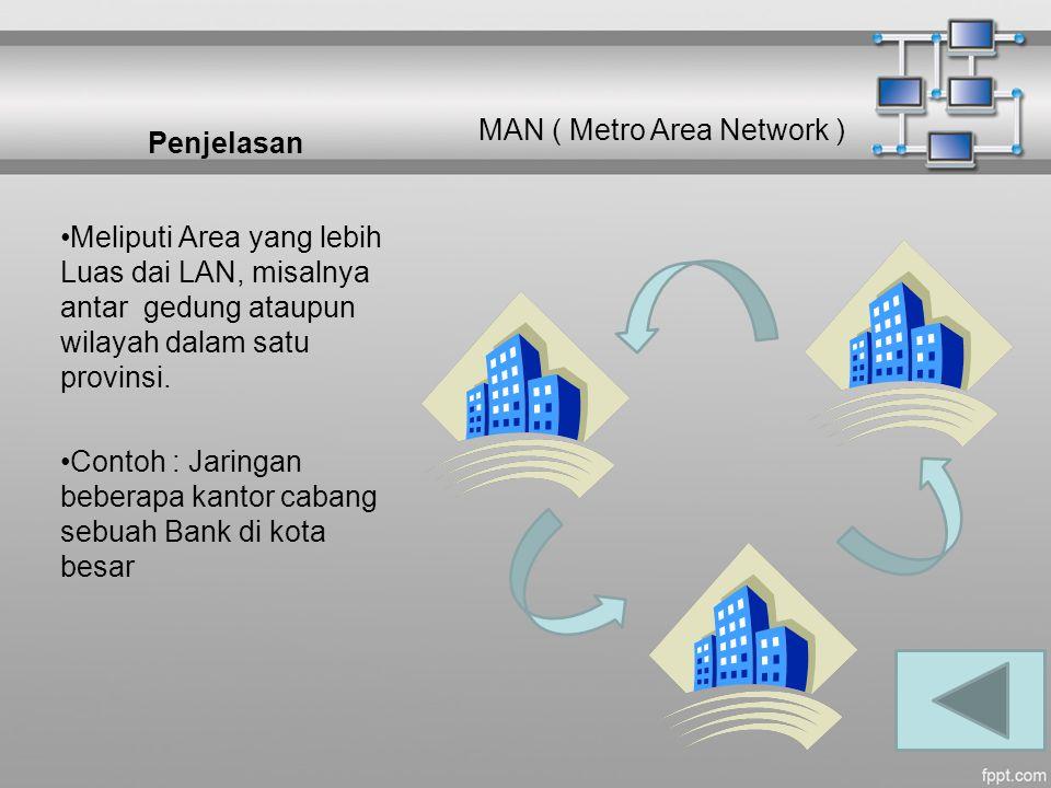 Penjelasan Meliputi Area yang lebih Luas dai LAN, misalnya antar gedung ataupun wilayah dalam satu provinsi. Contoh : Jaringan beberapa kantor cabang