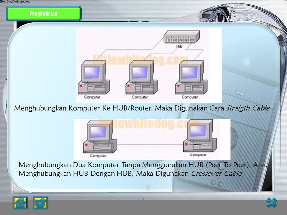 Pengkabelan UTP Cable (khususnya CAT5 / CAT5e) Untuk penggunaan koneksi komputer, dikenal 2 buah tipe penyambungan kabel UTP ini, yaitu straight cable