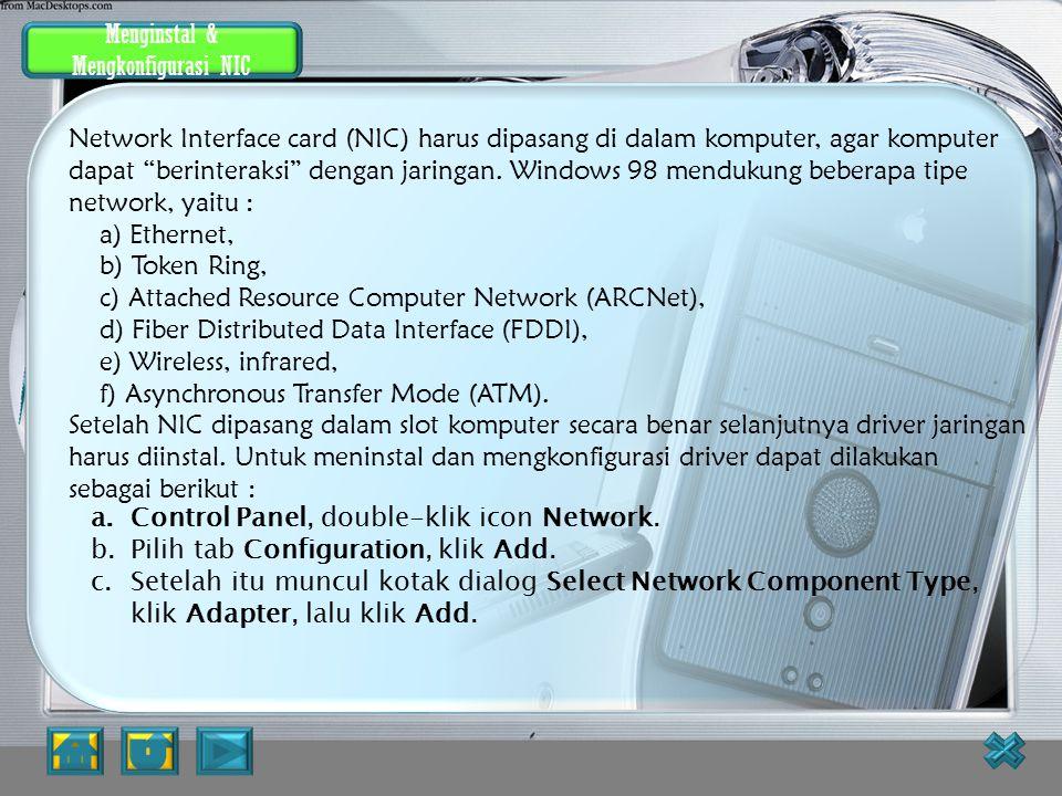 Indentifikasi Komputer di dalam jaringan Akan muncul kotak dialog c)Masukkan nama komputer, workgroup dan deskripsi komputer untuk komputer yang akan