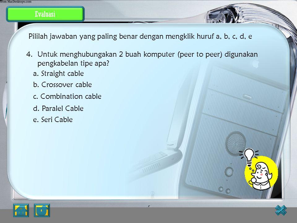 Evaluasi JAWABAN BENAR 3.Salah satu tipe Network Interface Card yang paling banyak digunakan saat ini adalah? a. ISA b. EISA c. Micro Channel Architec