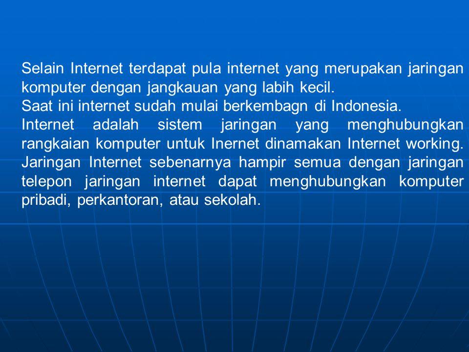 Selain Internet terdapat pula internet yang merupakan jaringan komputer dengan jangkauan yang labih kecil.