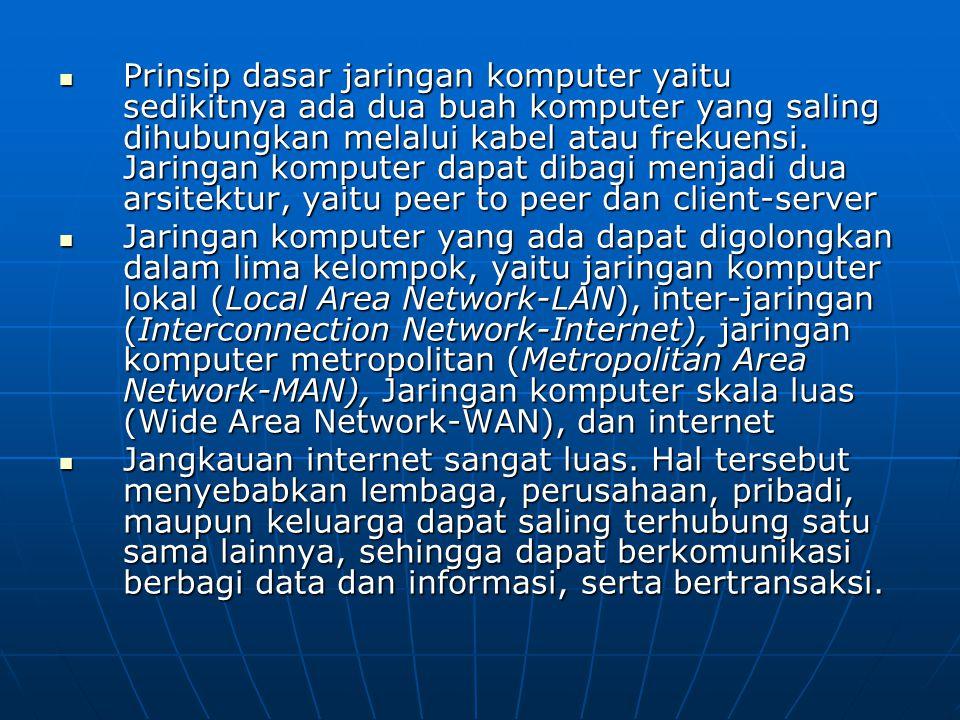 Prinsip dasar jaringan komputer yaitu sedikitnya ada dua buah komputer yang saling dihubungkan melalui kabel atau frekuensi.