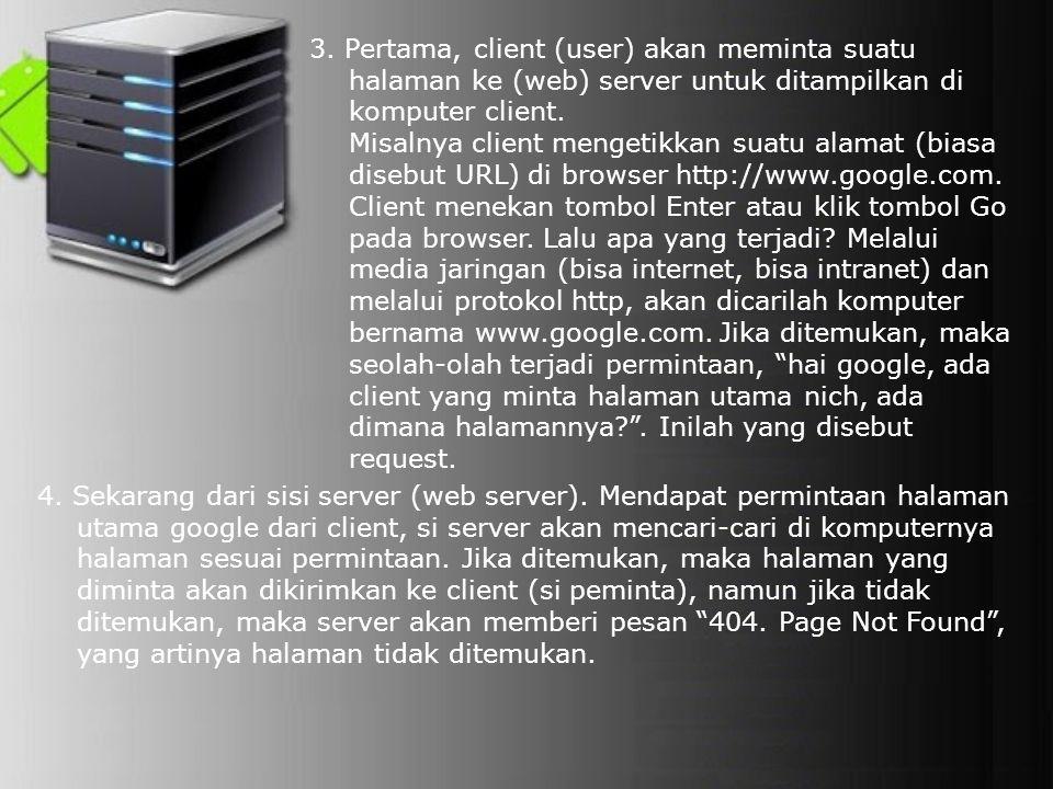 4. Sekarang dari sisi server (web server). Mendapat permintaan halaman utama google dari client, si server akan mencari-cari di komputernya halaman se