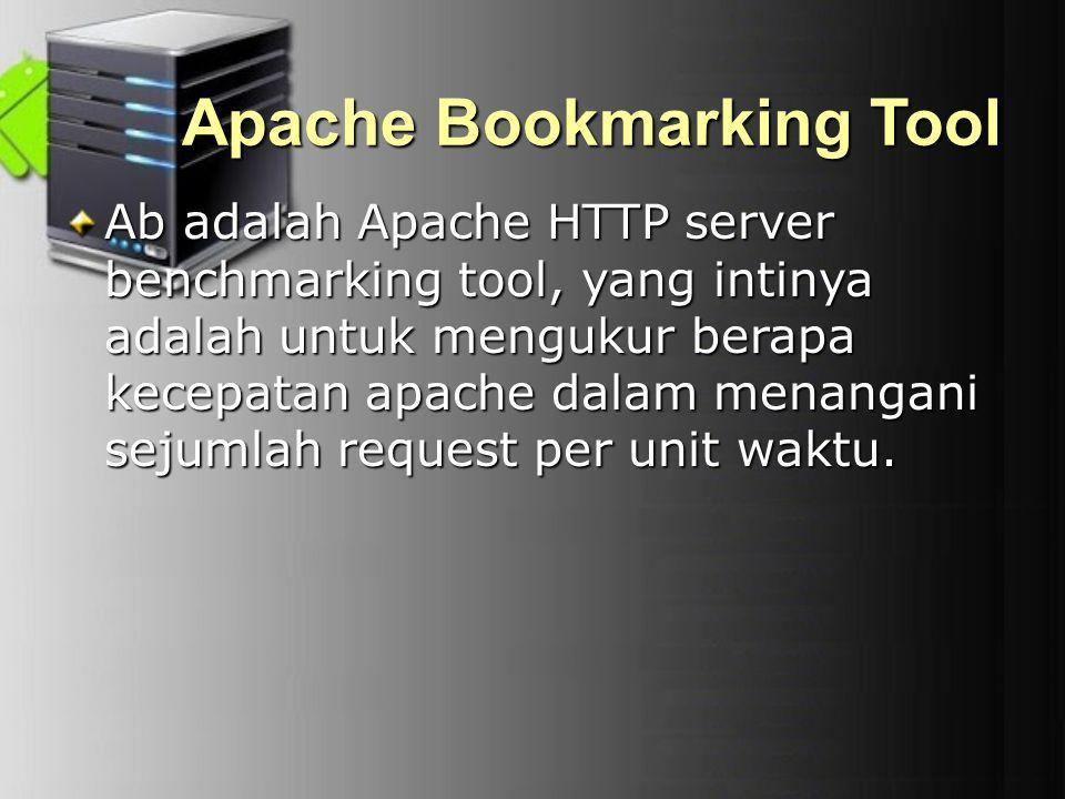 Apache Bookmarking Tool Ab adalah Apache HTTP server benchmarking tool, yang intinya adalah untuk mengukur berapa kecepatan apache dalam menangani sej