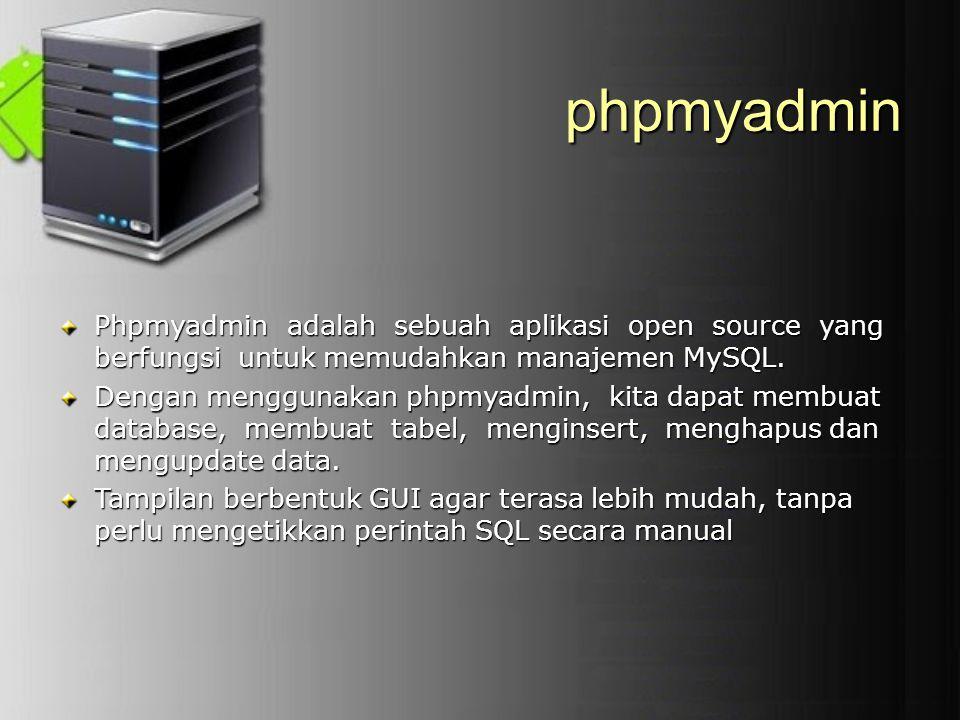 phpmyadmin Phpmyadmin adalah sebuah aplikasi open source yang berfungsi untuk memudahkan manajemen MySQL. Dengan menggunakan phpmyadmin, kita dapat me