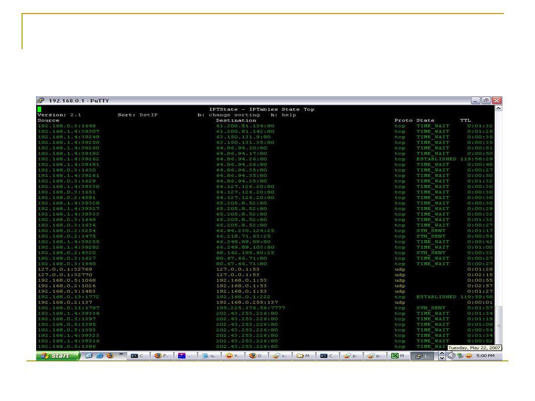 Modem ADSL IDS  Date/Time Facility Severity Message  Jan 1 04:07:23 user alert kernel: Intrusion -> IN=ppp_8_81_1 OUT= MAC= src=122.116.17.144 DST=125.162.87.79  LEN=40 TOS=0×00 PREC=0×00 TTL=113 ID=336 PROTO=TCP SPT=10391 DPT=1080 WINDOW=32 RES=0×00 SYN URGP=0  Jan 1 04:17:35 user alert kernel: Intrusion -> IN=ppp_8_81_1 OUT= MAC= src=125.162.62.229 DST=125.162.87.79  LEN=48 TOS=0×00 PREC=0×00 TTL=127 ID=2257 DF PROTO=TCP SPT=3072 DPT=139 WINDOW=64800 RES=0×00 SYN URGP=0  Jan 1 04:25:33 user alert kernel: Intrusion -> IN=ppp_8_81_1 OUT= MAC= src=195.5.116.234 DST=125.162.87.79  LEN=48 TOS=0×00 PREC=0×00 TTL=114 ID=54968 PROTO=TCP SPT=48832 DPT=1080 WINDOW=65535 RES=0×00 SYN URGP=0  Jan 1 04:36:02 user alert kernel: Intrusion -> IN=ppp_8_81_1 OUT= MAC= src=125.232.145.249 DST=125.162.87.79  LEN=52 TOS=0×00 PREC=0×00 TTL=50 ID=23868 DF PROTO=TCP SPT=12513 DPT=139 WINDOW=60352 RES=0×00 SYN URGP=0  Jan 1 04:46:22 user alert kernel: Intrusion -> IN=ppp_8_81_1 OUT= MAC= src=125.58.133.210 DST=125.162.87.79  LEN=48 TOS=0×00 PREC=0×00 TTL=111 ID=21235 DF PROTO=TCP SPT=2084 DPT=1433 WINDOW=65535 RES=0×00 SYN URGP=0  Jan 1 04:55:22 user alert kernel: Intrusion -> IN=ppp_8_81_1 OUT= MAC= src=125.162.100.157 DST=125.162.87.79  LEN=48 TOS=0×00 PREC=0×00 TTL=125 ID=50280 DF PROTO=TCP SPT=2456 DPT=445 WINDOW=64800 RES=0×00 SYN URGP=0  Jan 1 05:05:26 user alert kernel: Intrusion -> IN=ppp_8_81_1 OUT= MAC= src=125.162.58.77 DST=125.162.87.79  LEN=48 TOS=0×00 PREC=0×00 TTL=127 ID=46298 DF PROTO=TCP SPT=1545 DPT=135 WINDOW=64800 RES=0×00 SYN URGP=0  Jan 1 05:16:50 user alert kernel: Intrusion -> IN=ppp_8_81_1 OUT= MAC= src=125.162.58.104 DST=125.162.87.79  LEN=48 TOS=0×00 PREC=0×00 TTL=127 ID=21198 DF PROTO=TCP SPT=3555 DPT=135 WINDOW=64800 RES=0×00 SYN URGP=0  Jan 1 05:28:43 user alert kernel: Intrusion -> IN=ppp_8_81_1 OUT= MAC= src=125.162.62.51 DST=125.162.87.79  LEN=48 TOS=0×00 PREC=0×00 TTL=126 ID=11916 DF PROTO=TCP SPT=2536 DPT=135 WINDOW=16384 RES=0×00 SYN URGP=0  Jan 1 05:36