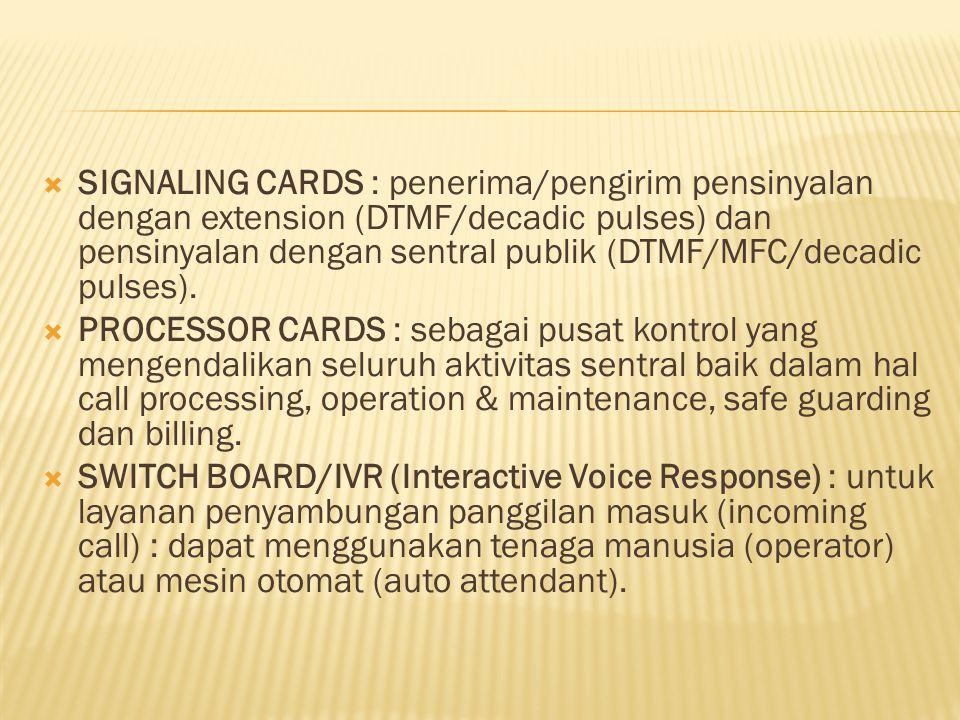  SIGNALING CARDS : penerima/pengirim pensinyalan dengan extension (DTMF/decadic pulses) dan pensinyalan dengan sentral publik (DTMF/MFC/decadic pulse