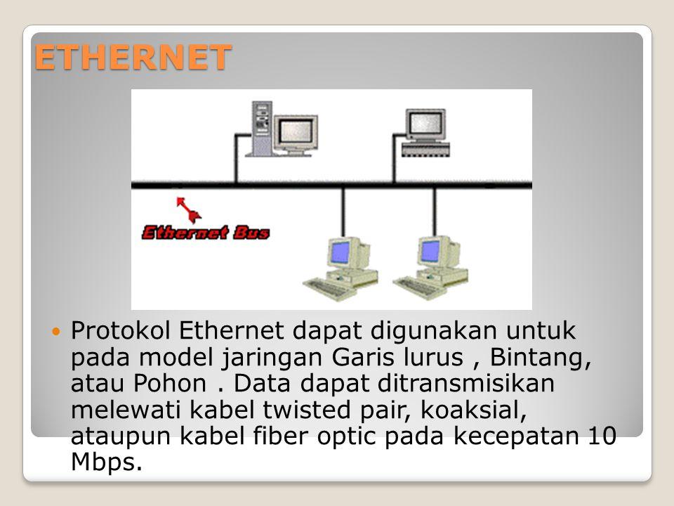 ETHERNET Protokol Ethernet dapat digunakan untuk pada model jaringan Garis lurus, Bintang, atau Pohon. Data dapat ditransmisikan melewati kabel twiste