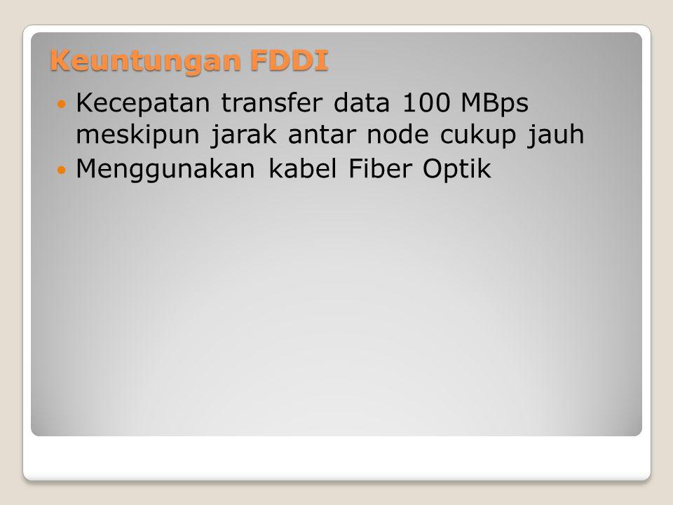 Keuntungan FDDI Kecepatan transfer data 100 MBps meskipun jarak antar node cukup jauh Menggunakan kabel Fiber Optik