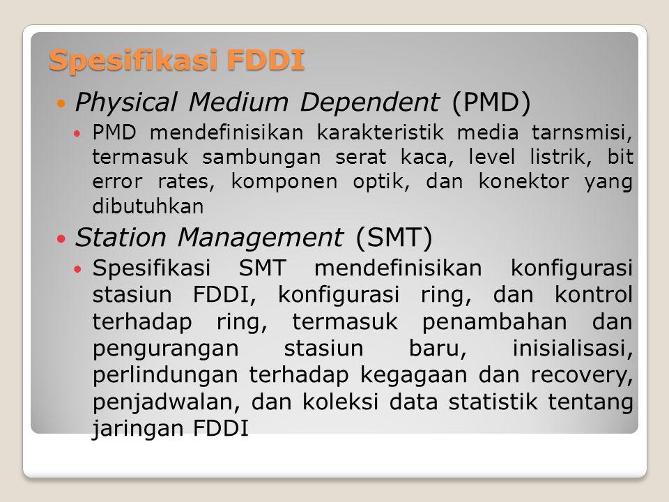 Spesifikasi FDDI Physical Medium Dependent (PMD) PMD mendefinisikan karakteristik media tarnsmisi, termasuk sambungan serat kaca, level listrik, bit e