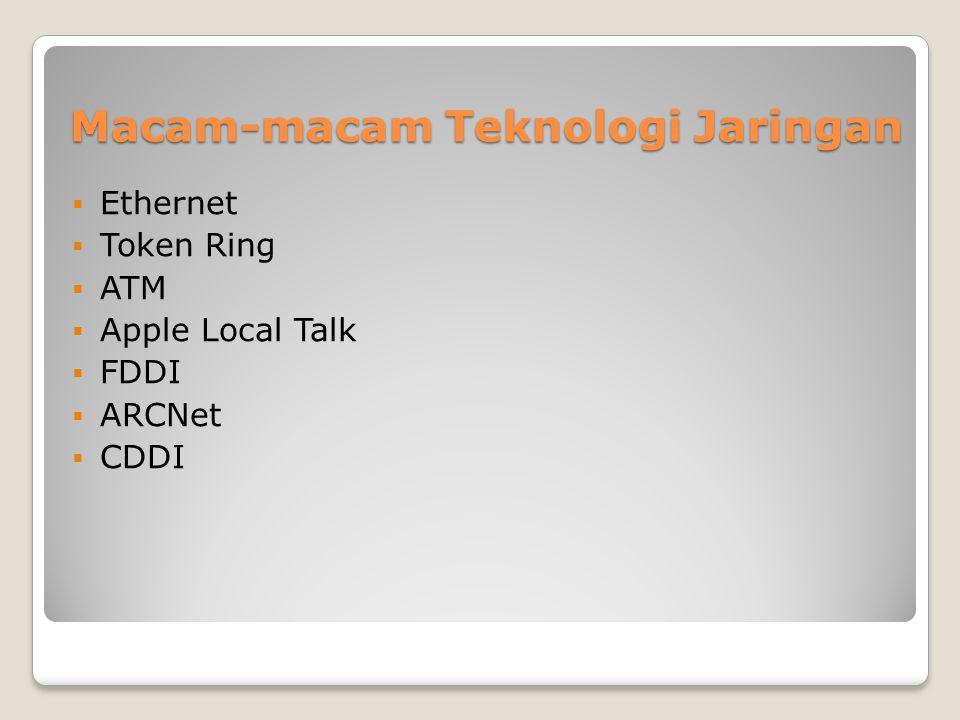 Rangkuman Topologi Jaringan Teknologi yang di pakai Kabel yang digunakan Kecepatan Transfer Topologi Fisik EthernetTwisted Pair, Coaxial Fiber 10 MBpsLinear Bus, Star, Tree Fast EthernetTwisted Pair, Fiber 100 MBpsStar Token RingTwisted Pair4 MBps -16 MBps Linear Bus LocalTalkTwisted Pair0,23 MBpsStar, Wired Ring FDDIFiber100 MBpsDual Ring ATMTwisted Pair, Fiber 155 – 2488 MBps Linear Bus, Star, Tree