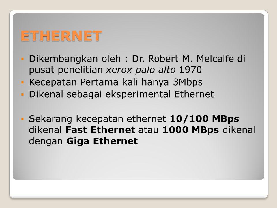 ETHERNET  Dikembangkan oleh : Dr. Robert M. Melcalfe di pusat penelitian xerox palo alto 1970  Kecepatan Pertama kali hanya 3Mbps  Dikenal sebagai