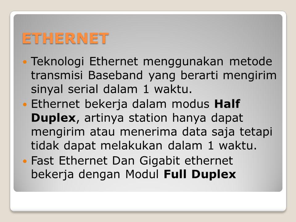 ETHERNET Teknologi Ethernet menggunakan metode transmisi Baseband yang berarti mengirim sinyal serial dalam 1 waktu. Ethernet bekerja dalam modus Half