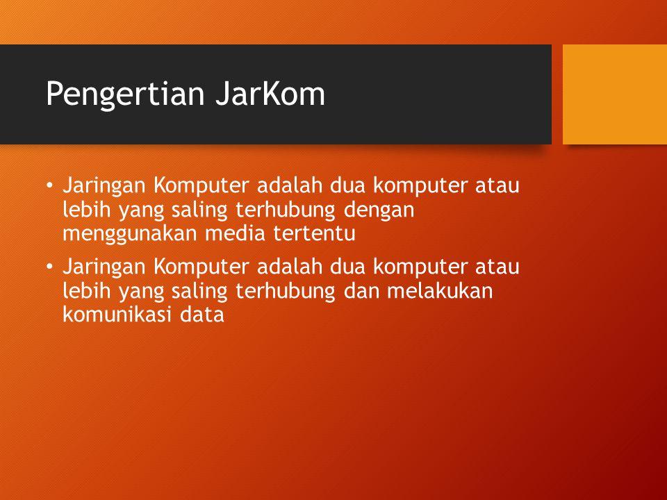 Pengertian JarKom Jaringan Komputer adalah dua komputer atau lebih yang saling terhubung dengan menggunakan media tertentu Jaringan Komputer adalah dua komputer atau lebih yang saling terhubung dan melakukan komunikasi data
