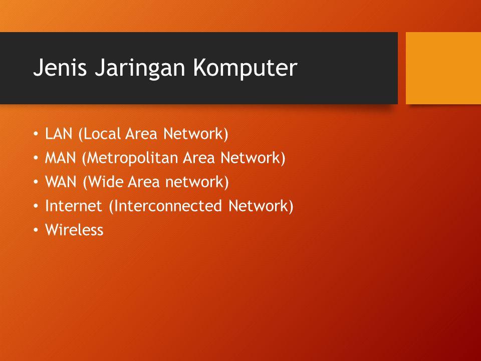 LAN Jaringan yang berada dalam area yang relatif kecil (lokal) Contoh : Jaringan komputer Sekolah Jaringan warnet Jaringan kantor Jaringan perusahaan kecil