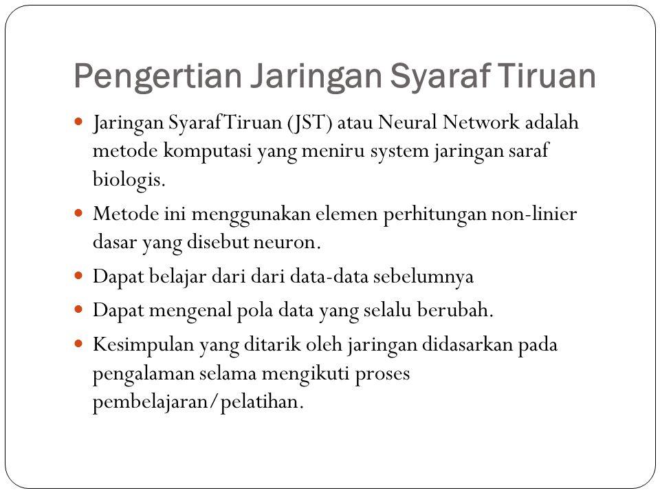 Pengertian Jaringan Syaraf Tiruan Jaringan Syaraf Tiruan (JST) atau Neural Network adalah metode komputasi yang meniru system jaringan saraf biologis.