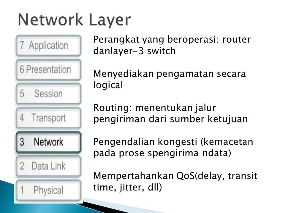 Perangkat yang beroperasi: router danlayer-3 switch Menyediakan pengamatan secara logical Routing: menentukan jalur pengiriman dari sumber ketujuan Pengendalian kongesti (kemacetan pada prose spengirima ndata) Mempertahankan QoS(delay, transit time, jitter, dll)