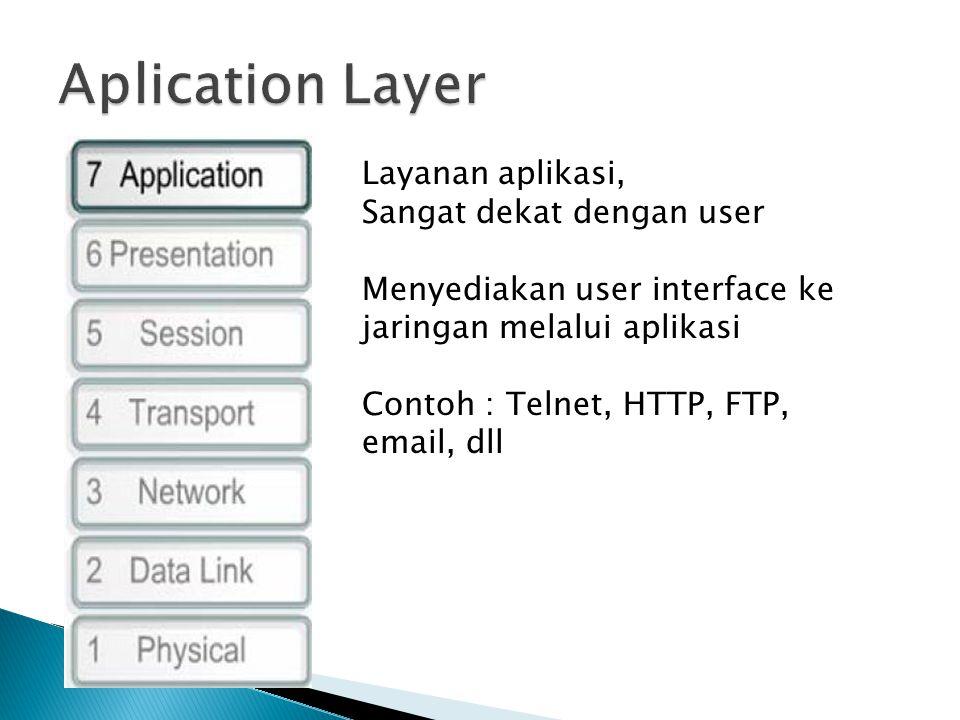 Layanan aplikasi, Sangat dekat dengan user Menyediakan user interface ke jaringan melalui aplikasi Contoh : Telnet, HTTP, FTP, email, dll