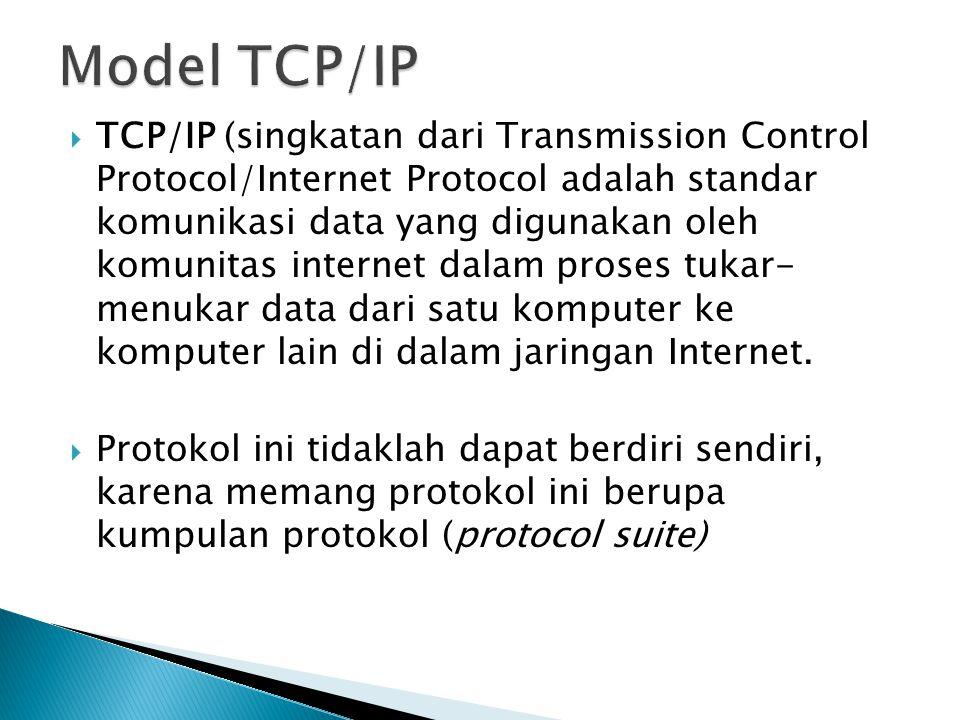  TCP/IP (singkatan dari Transmission Control Protocol/Internet Protocol adalah standar komunikasi data yang digunakan oleh komunitas internet dalam proses tukar- menukar data dari satu komputer ke komputer lain di dalam jaringan Internet.