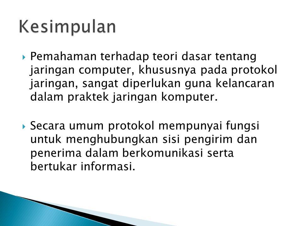  Pemahaman terhadap teori dasar tentang jaringan computer, khususnya pada protokol jaringan, sangat diperlukan guna kelancaran dalam praktek jaringan komputer.
